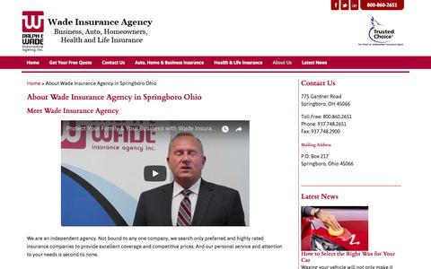 Screenshot of About Page wadeins.com - About Wade Insurance Agency in Springboro Ohio - captured Nov. 4, 2017
