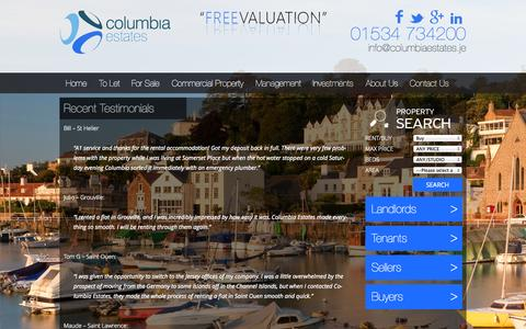 Screenshot of Testimonials Page columbiaestates.je - Recent Testimonials | Columbia Estates; No.1 Estate Agents in Jersey - captured Sept. 23, 2014