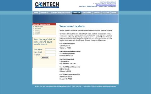 Screenshot of Locations Page con-techinternational.com - Con-Tech International | Locations - captured Sept. 30, 2014