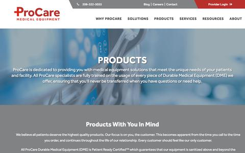 Screenshot of Products Page procareme.com - Products :: ProCare Medical Equipment - captured July 10, 2018