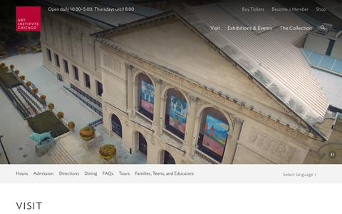 Screenshot of Maps & Directions Page Hours Page artic.edu - Visit a Chicago Landmark | The Art Institute of Chicago - captured Oct. 26, 2018