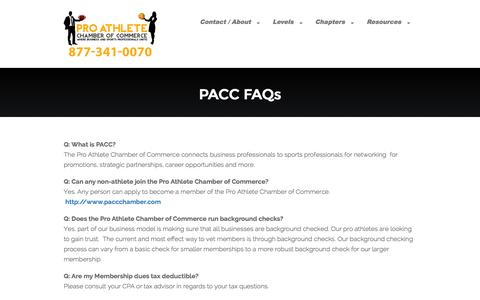 Screenshot of FAQ Page paccchamber.com - FAQs - Pro Athlete Chamber of Commerce - captured Nov. 2, 2014