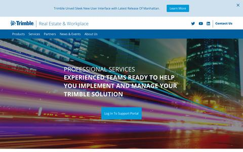Screenshot of Services Page trimble.com - Integrated Workplace Management Systems- CAFM System - captured Oct. 2, 2018