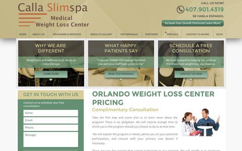 Screenshot of Pricing Page callaslimspa.com - Pricing - Calla Slimspa Medical Weight Loss Center - captured Oct. 1, 2014
