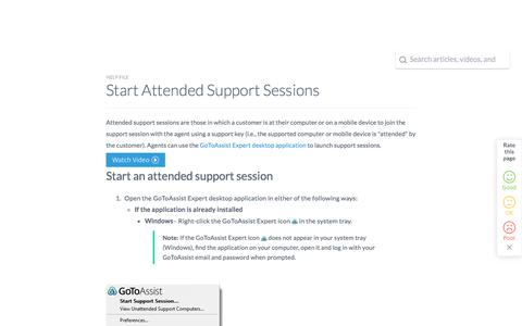 Screenshot of Support Page logmeininc.com - Start Attended Support Sessions - captured Oct. 14, 2017