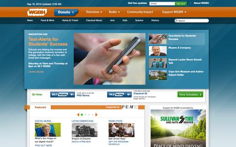 Screenshot of Home Page wgbh.org - WGBH Homepage - captured Sept. 19, 2014