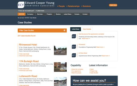 Screenshot of Case Studies Page ecycs.co.uk - Edward Cooper Young - Chartered Surveyors - captured Oct. 27, 2016