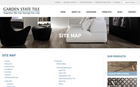 Screenshot of Site Map Page gstile.com - Site Map | Garden State Tile - captured Oct. 25, 2016