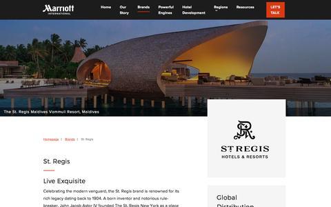 Screenshot of Developers Page marriott.com - St. Regis - Marriott Hotels Development - captured July 6, 2018