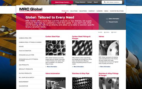 Screenshot of Products Page mrcglobal.com - Products for the Energy and Industrial markets - MRC Global - captured July 20, 2018