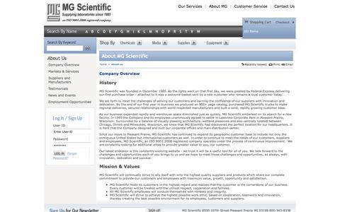 Screenshot of About Page mgscientific.com - MG Scientific | About Us - captured July 21, 2016