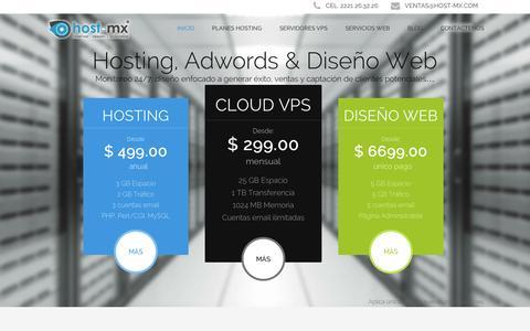 Screenshot of Home Page host-mx.com - Host-MX, hosting, dominios, servidores vps, diseño web. - captured Sept. 23, 2014