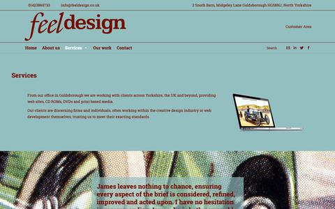 Screenshot of Services Page feeldesign.co.uk - Feel Design |   Services - captured Oct. 10, 2018