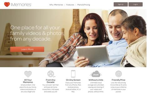 Screenshot of Home Page imemories.com - iMemories - One place for all your family videos and photos, from any decade. - captured Sept. 12, 2014