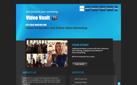 Screenshot of Home Page videovault.com.au - Video Production Geelong and Online Video Marketing Geelong - captured Feb. 23, 2016