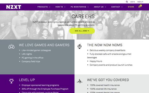 Screenshot of Jobs Page nzxt.com - NZXT | PC Hardware Manufacturer - Cases, Cooling, Fan Control and PC Monitoring - captured Oct. 21, 2017