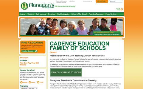 Screenshot of Jobs Page flanaganspreschool.com - Teaching Jobs in Pennsylvania   Flanagan's Preschool - captured Aug. 4, 2016