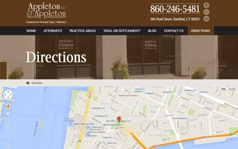 Screenshot of Maps & Directions Page appleton-law.com - Appleton and Appleton | Directions | Hartford Connecticut - captured Oct. 4, 2014
