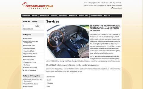Screenshot of Services Page performanceplusconnection.com - Services - Performance Plus Connection supplier of weatherpack connectors & tools - captured May 16, 2017