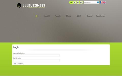 Screenshot of Login Page beebuzziness.com - Ouverture de session / Utilisateur - BEEBUZZINESS - captured Dec. 28, 2015