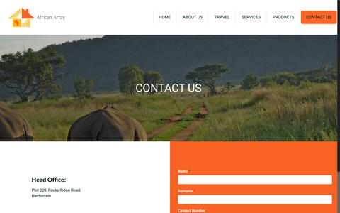 Screenshot of Contact Page africanarray.co.za - CONTACT US | African Array - captured July 29, 2018