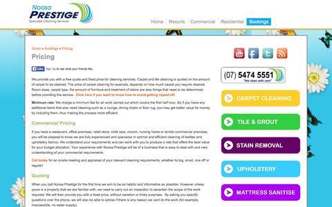 Screenshot of Pricing Page noosaprestige.com.au - Pricing | NoosaPrestige - captured Jan. 14, 2016