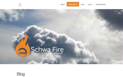 Screenshot of Blog schwa-fire.com - Schwa Fire | Language in life, life in language - captured Sept. 30, 2014