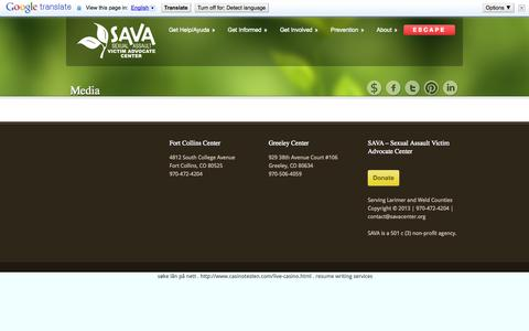 Screenshot of Press Page savacenter.org - Media   The SAVA Center - captured Oct. 3, 2014