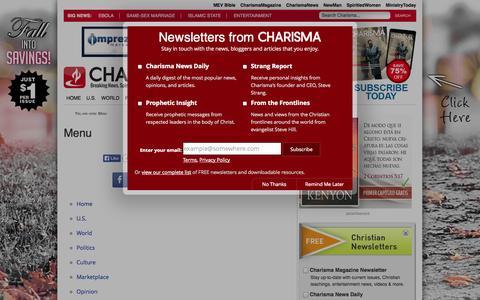 Screenshot of Menu Page charismanews.com - Menu - captured Oct. 29, 2014