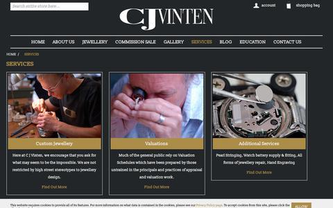 Screenshot of Services Page cjvinten.co.uk - Jewellers In Essex | cjvinten.co.uk - captured Sept. 25, 2018