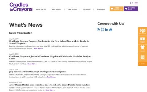 Screenshot of Press Page cradlestocrayons.org - News & Press Archive - Cradles to Crayons - captured July 22, 2018