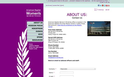 Screenshot of Contact Page abwministries.org - ABWMinistries - captured Nov. 2, 2014