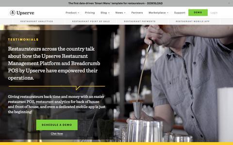 Screenshot of Testimonials Page upserve.com - Restaurant POS Customer Stories   Upserve Testimonials - captured Dec. 2, 2017