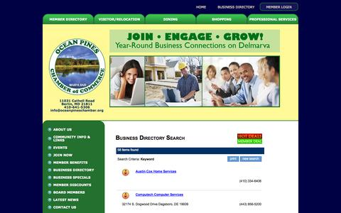 Screenshot of Services Page oceanpineschamber.org - Business Directory Search - Ocean Pines Chamber of Commerce - captured Oct. 7, 2014