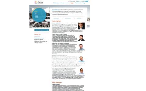 Screenshot of Team Page rangenetworks.com - Range Networks Team - captured Sept. 30, 2014