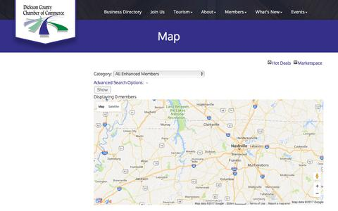 Screenshot of Maps & Directions Page dicksoncountychamber.com - Map - Dickson County Chamber of Commerce, TN - captured Oct. 12, 2017