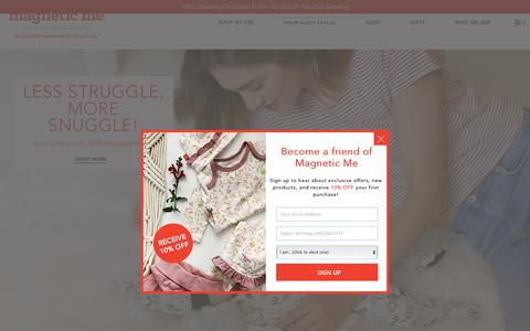 Screenshot of Home Page magneticme.com - Magnetic Me | The Absolute Easiest Way To Dress A Baby - captured July 10, 2018