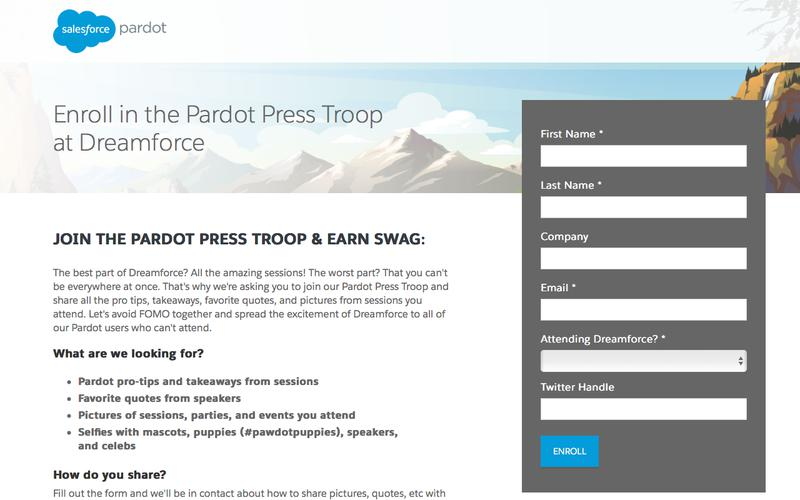 Enroll in the Pardot Press Troop at Dreamforce 17 To Earn Swag