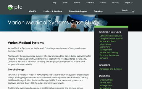 Screenshot of Case Studies Page ptc.com - Varian Medical Systems reduces mean time to repair by 50% | PTC - captured Nov. 13, 2018
