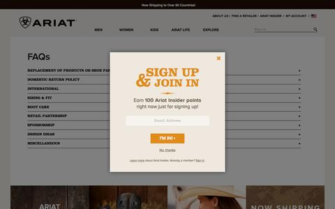Screenshot of FAQ Page ariat.com - FAQs - captured Oct. 2, 2015