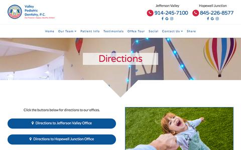 Screenshot of Maps & Directions Page valleypediatricdentistry.com - Directions To Our Office   Valley Pediatric Dentistry PC - captured July 6, 2018