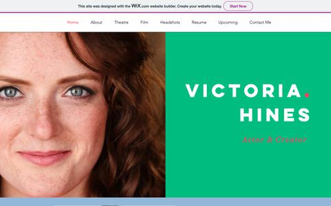 Screenshot of Home Page victoriahines.com - Mysite - captured Dec. 10, 2018