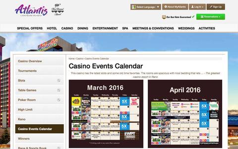 Screenshot of atlantiscasino.com - Casino Events Calendar | Atlantis Casino Reno - captured March 20, 2016