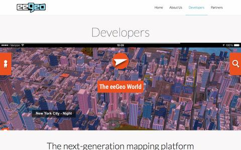 Screenshot of Developers Page eegeo.com - Developers «  The eeGeo 3D Mapping Platform - captured Sept. 15, 2014