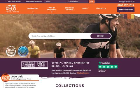Screenshot of Home Page lovevelo.co.uk - Love Velo – Cycling Holidays Exclusively for Everyone - captured July 23, 2018