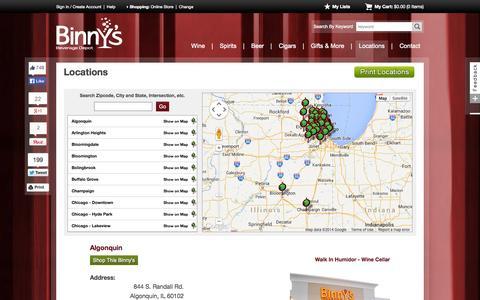 Screenshot of Locations Page binnys.com - Wine, Spirits and Beer | Binny's Beverage Depot - captured Sept. 23, 2014