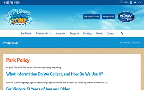 Screenshot of Privacy Page splashzonewaterpark.com - Park & Privacy Policy | Splash Zone Water Park | Jersey Shore Water Park | Wildwood, NJ - captured Dec. 21, 2016