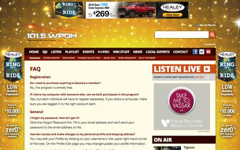Screenshot of FAQ Page wpdh.com - 101.5 WPDH Radio – The Home of Rock and Roll – Poughkeepsie Classic Rock Radio - captured Jan. 20, 2016