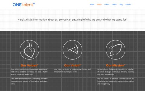 Screenshot of About Page onetalent.co.uk - About   ONE talent° - captured Oct. 7, 2014