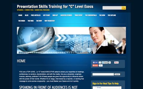 "Screenshot of Home Page clevelspeaking.com - Presentation Skills for ""C"" Level Executives and Business Owners, Attorneys, RNC politicians 